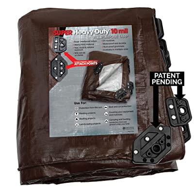 Park Ridge Products SCTRP0420 4 x 20 ft Heavy-Duty Brown/Silver Reversible Poly 10 mil Tarp Super Corner