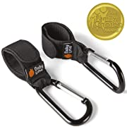 Stroller Hooks by Baby Uma - Clips to Hang Your Shopping & Bags Safely on Your Buggy, Pushchair or Pram. Black, 2 Pack