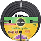 """Swan Products Miracle-Gro MGSPA38075CC Premium Soaker Hose 75 ft with Push on Fittings, 3/8"""" diameter, Black"""