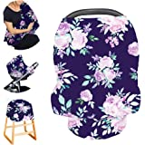 Stretchy Baby Carseat Cover with 4-in-1 Multi-use for Baby Carseat & Nursing/Versatile Breastfeeding Scarf & Stroller & Feedi