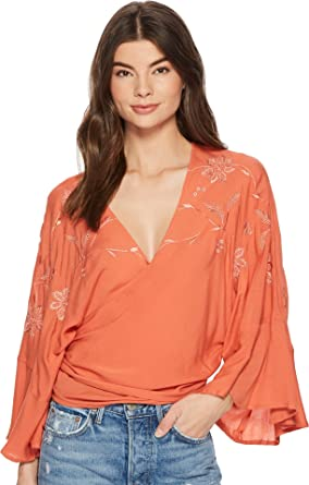 7ab39cecbb3892 Lucky Brand Womens Embroidered Wrap Top at Amazon Women's Clothing ...