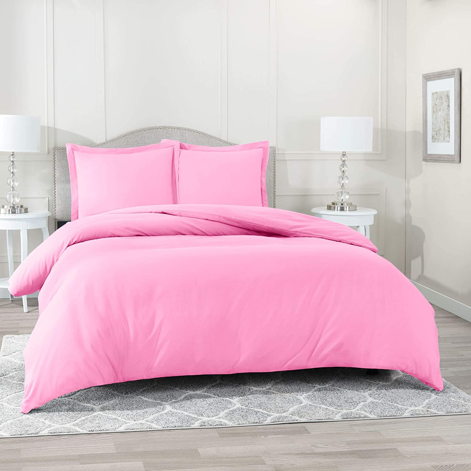 """Nestl Bedding Duvet Cover 3 Piece Set – Ultra Soft Double Brushed Microfiber Hotel Collection – Comforter Cover with Button Closure and 2 Pillow Shams, Light Pink - Full (Double) 80""""x90"""""""