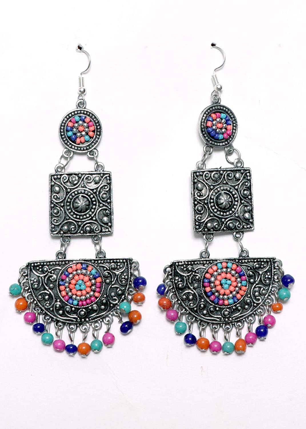 Silver Oxidized Half Moon Shaped Dangling Jhumki Indian Traditional Jewellery for Stylish Women and Girls by SP Jewels