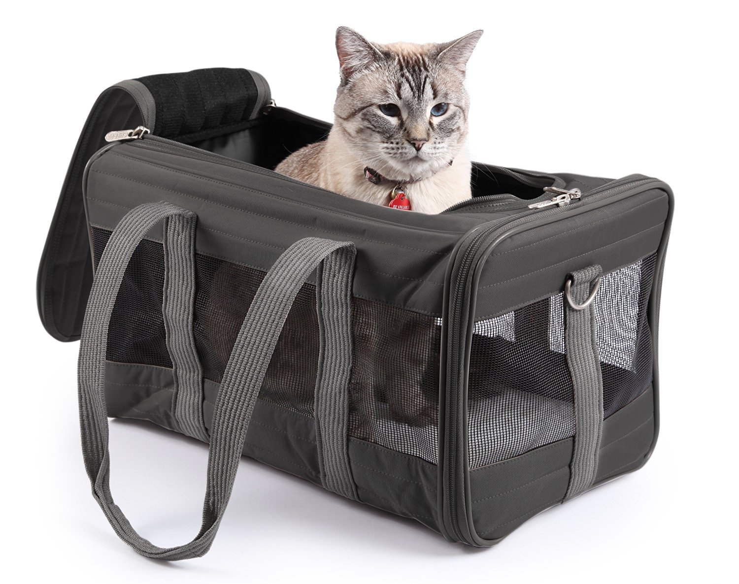 Charcoal Large Charcoal Large Sherpa Travel Original Deluxe Airline Approved Pet Carrier, Large, Charcoal