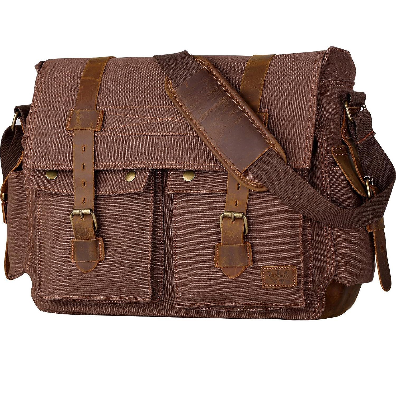 173 Inch Mens Messenger Bag Vintage Canvas Leather Satchel Military Shoulder Laptop Bags Bookbag Working