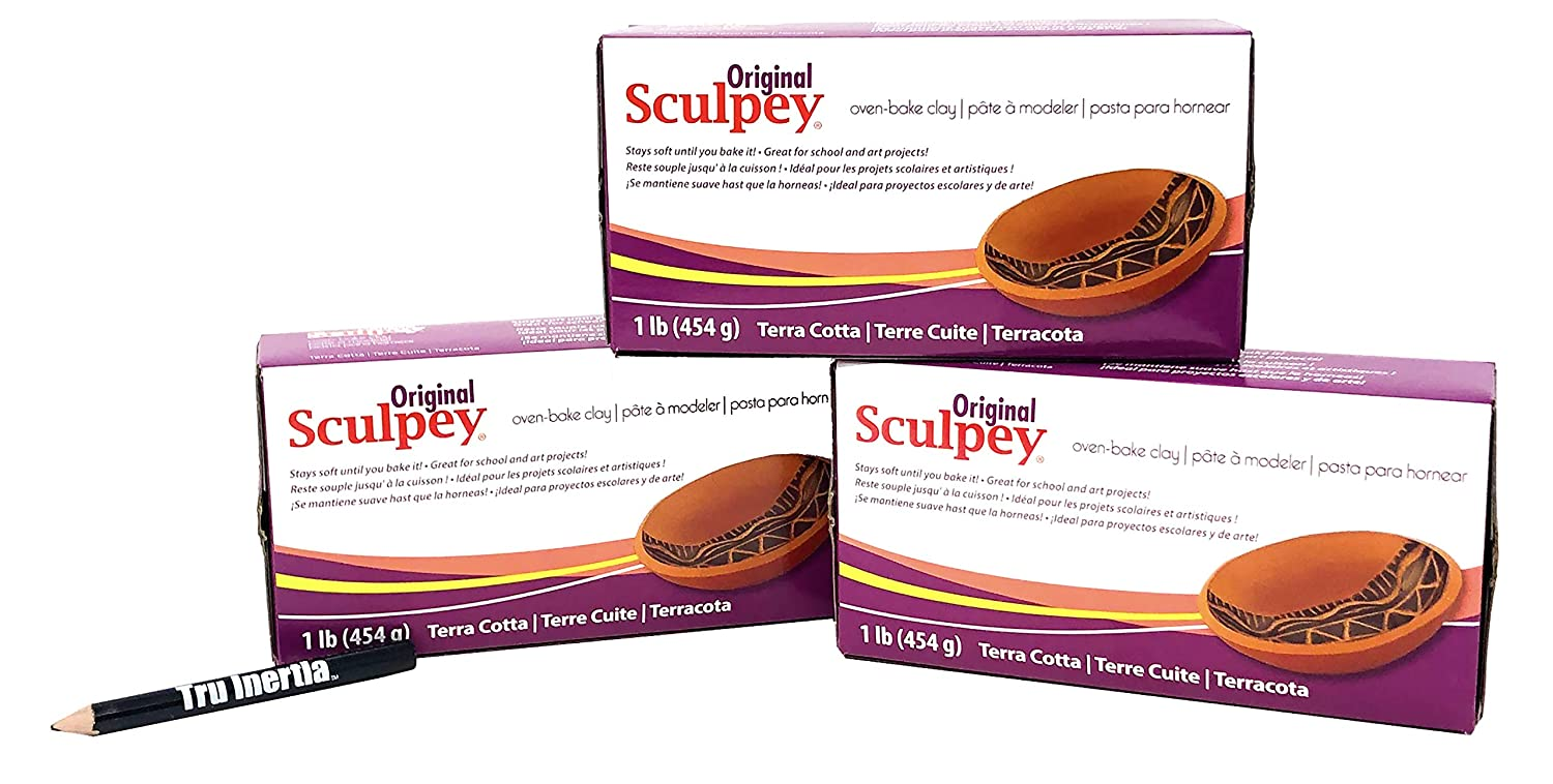 Original Sculpey Sculpturing Compound Terra Cotta Oven-Bake Clay - Great for School and Art Projects - 1 Lb (Pack of 3) with Tru Inertia Pencil