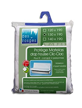 Nuit des Vosges 2090918 Céline Protector de colchón impermeable para sofá cama Algodón blanco 190 x 130 cm: Amazon.es: Hogar