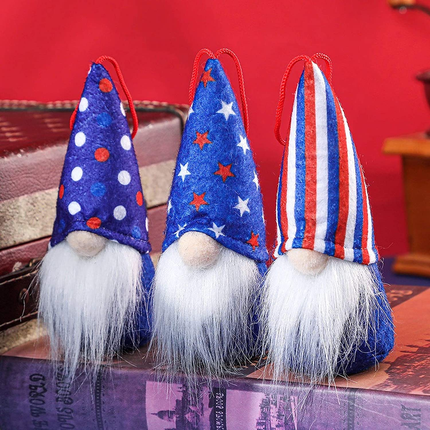 4th of July Gnome Independence Day Hanging Ornament Set of 3, Patriotic Gnome USA Stars and Stripes American Flag Plush Faceless Doll Veterans Day Memorial Day Gift Uncle Sam Tomte Elf Home Decor