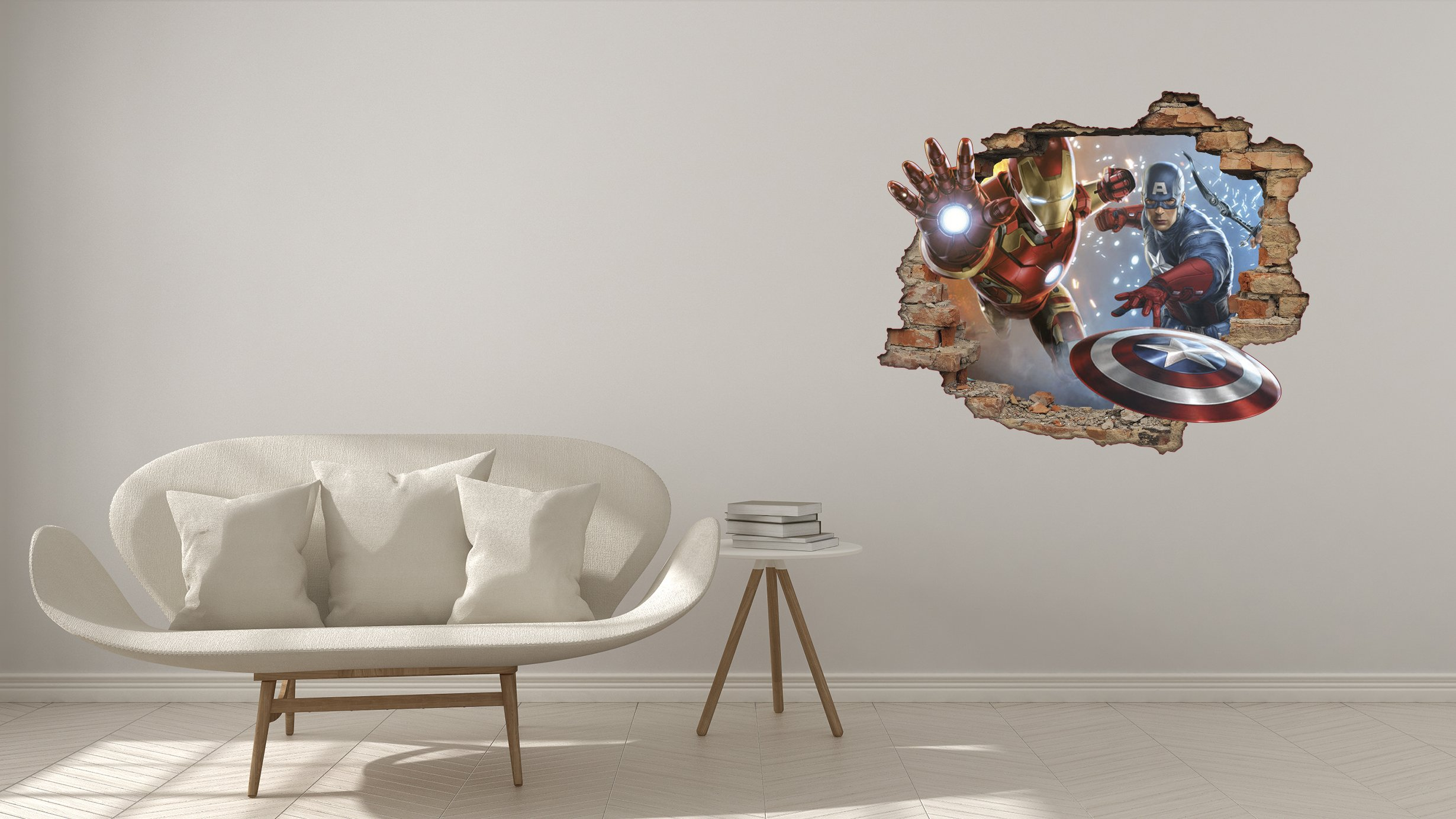 Iron Man and Captain America Super Hero 3D Effect - Brake Wall Effect 3D - Wall Decal For Room Boys Girls Unisex ((Wide 22''x18'' Height)) by Decalca (Image #1)