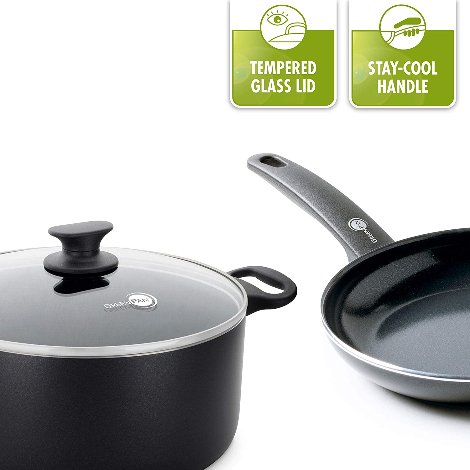 4f6a20d46fc4 GreenPan CW002211-003 Cambridge 100% ToxinFree Healthy Ceramic Nonstick  Metal Utensil/Induction/Dishwasher/OvenSafe Frying Pan - 20cm - Black:  Amazon.co.uk: ...
