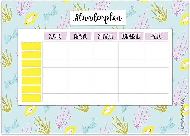 Papierdrachen Stundenplan DIN A4 Block Terminkalender und Wochenplan f/ür Jugendliche und Erwachsene Motiv Aquarell beschreibbar Schule oder Uni