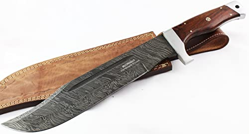 Moorhaus Damascus Steel Bowie Knife with Leather Sheath
