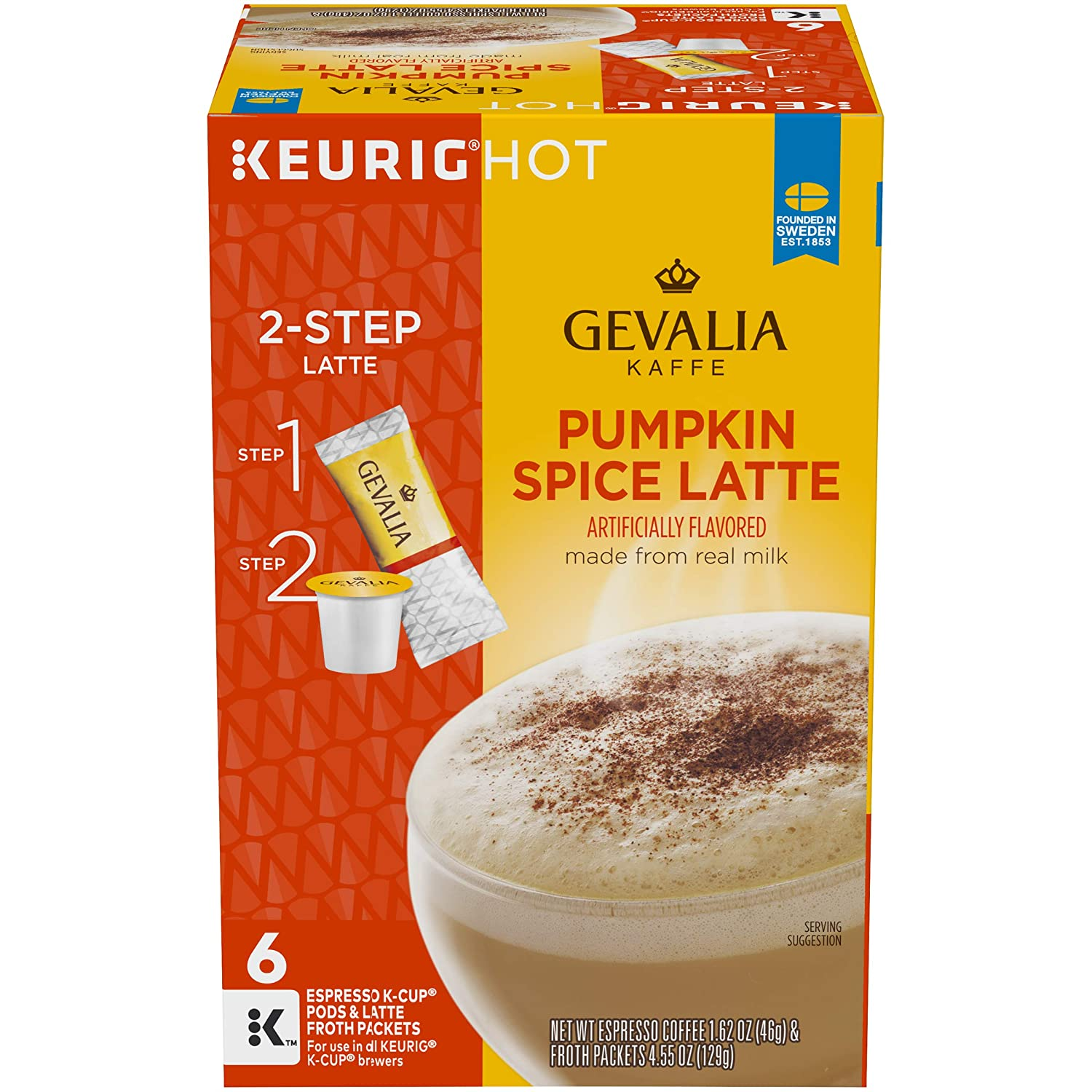 Gevalia Pumpkin Spice Latte Espresso Keurig K Cup Coffee Pods & Froth Packets (6 Count)