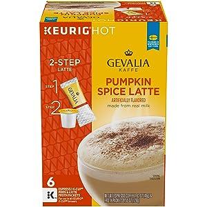 Gevalia Pumpkin Spice Latte Espresso Keurig K Cup Coffee Pods & Froth Packets (6 Count)