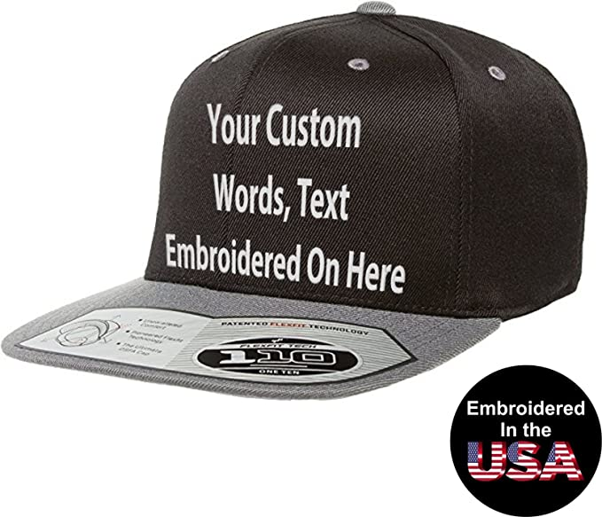 ad12b72af Personalized Flexfit 110 Flexfit Snapback Hat. Embroidered Text. Flat Bill.