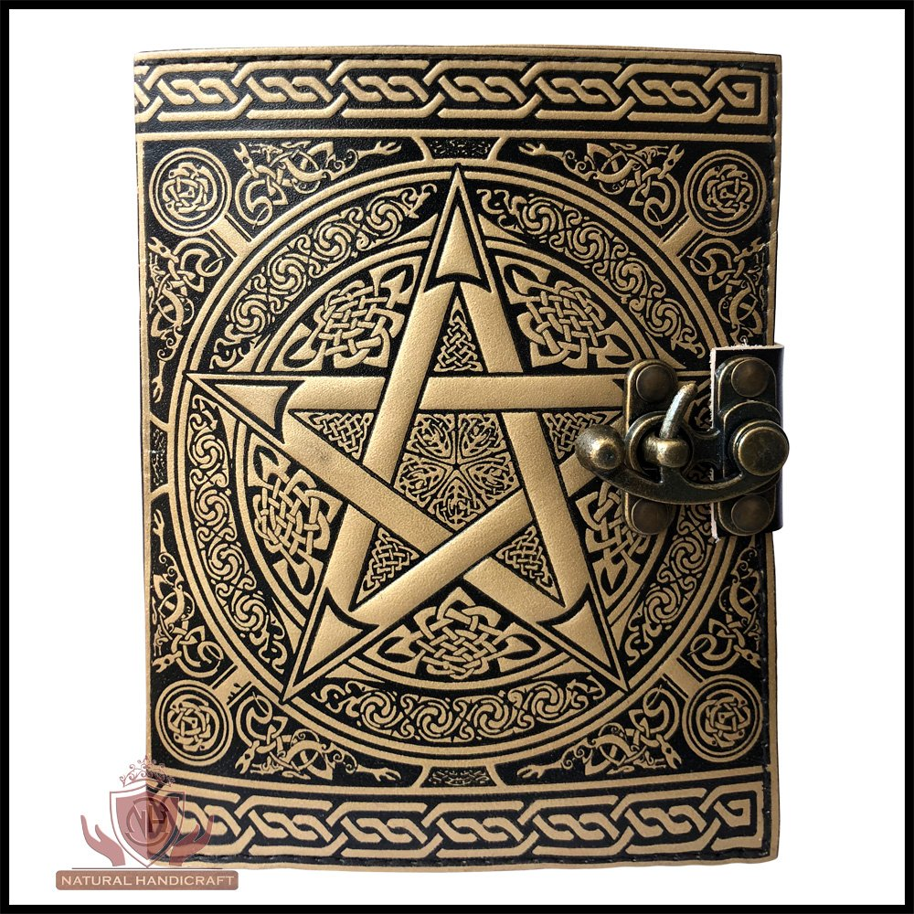 Pentagram Embossed Handmade Witchcraft Book of Shadows Leather Journal Book Wicca Pagan Pentacle Notebook Office Diary College Book Poetry Book Sketch Book 5 x 7 Inches for Men and Women by Natural Handicraft (Image #4)