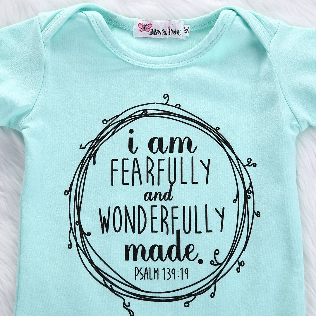 d6010c7986fe Amazon.com  Ka Milka I Am Fearfully and Wonderfully Made Infant Baby Girl Romper  Bodysuit  Clothing