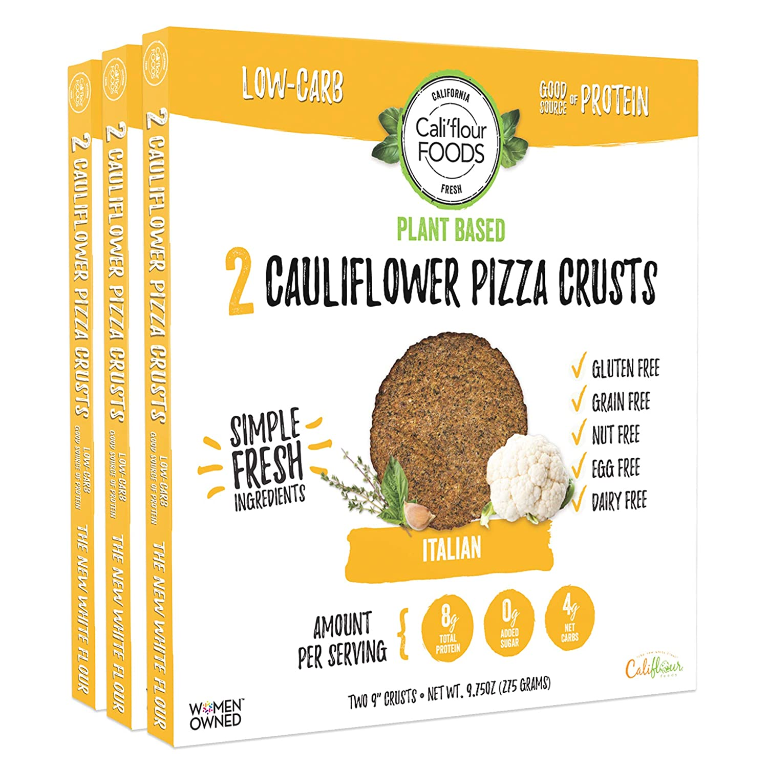 Cali'flour Foods Plant-Based Pizza Crust (Original Italian, 3 Boxes, 6 Crusts) - Fresh Cauliflower Base | Vegan, Low Carb, High Protein, Gluten and Grain Free | Paleo Friendly