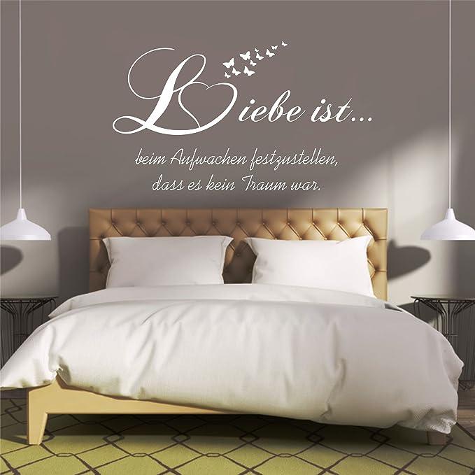 Amazon.de: greenluup® Wandtattoo Schlafzimmer Spruch Liebe ist beim ...