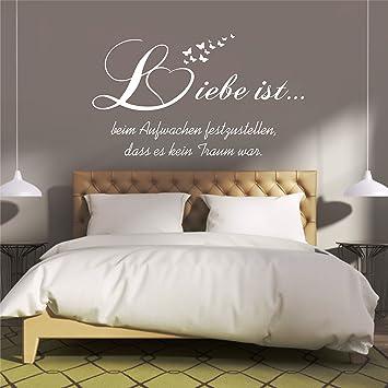 amazon.de: greenluup® wandtattoo schlafzimmer spruch liebe ist ... - Wandtattoo Wei Schlafzimmer