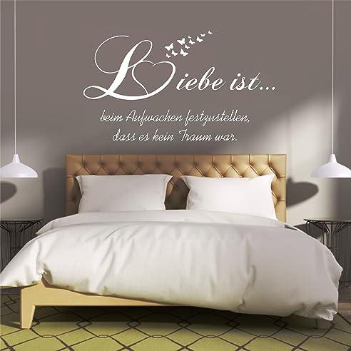 Wandtattoo für schlafzimmer  Amazon.de: greenluup® Wandtattoo Schlafzimmer Spruch Liebe ist ...