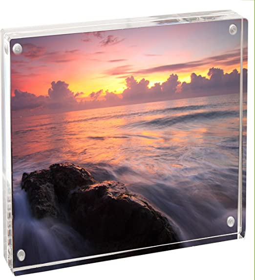 Sparkle Clear Acrylic Magnet Frame Double Sided Magnetic Picture Frame Floating