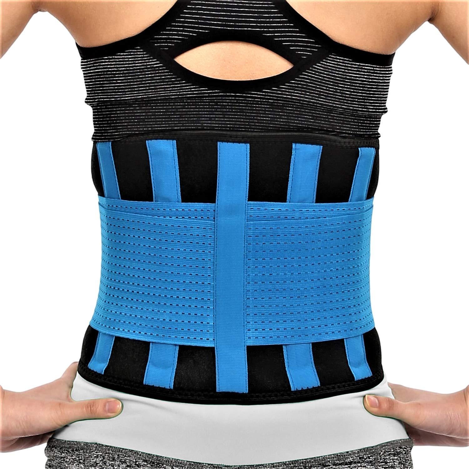 RiptGear Back Brace for Men and Women - Back Pain Relief Support for Lower Back Pain and Hip Pain - Lumbar Severe Back Pain Relief for Herniated Disc and Sciatica (Blue, Small - 23'' to 27'')