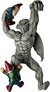 BELLA HAUS DESIGN Great Gargoyle Gnome Massacre Fence Hanger - Polyresin Outdoor Wall Décor - Detailed Hanging Statue – Gnome with Gothic Climbing Grotesque Gargoyle for Patio, Porch, Fence, Garden