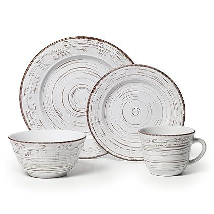 Pfaltzgraff Trellis White 16-Piece Stoneware Dinnerware Set Service for 4  sc 1 st  Amazon.com & Amazon.com: Pfaltzgraff Trellis White 16-Piece Stoneware Dinnerware ...