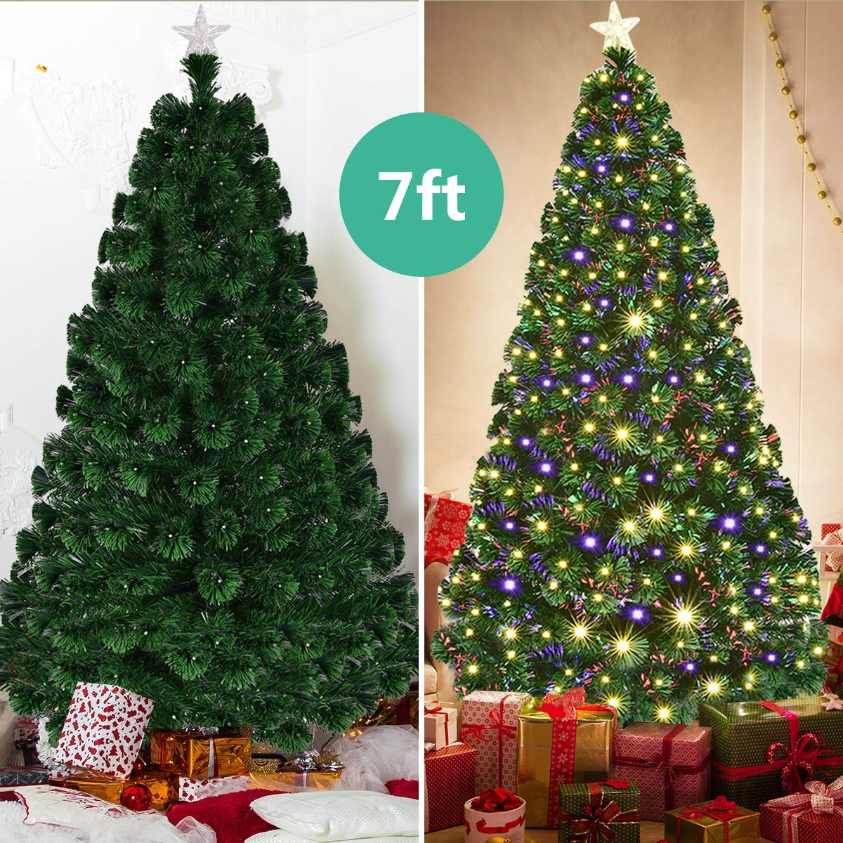 7 Ft Christmas Tree Prelit.Goplus 7ft Artificial Christmas Tree Pre Lit Optical Fiber Tree 8 Flash Modes W Ul Certified Warm White Electrodeless Led Lights Metal Stand
