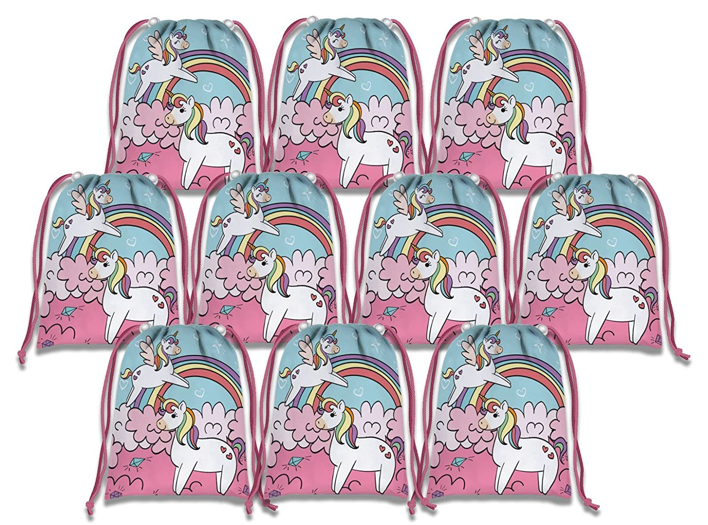 レインボーユニコーン巾着バッグキッズ誕生日パーティーSupplies Favor Bags 10パック B079DPL3YC