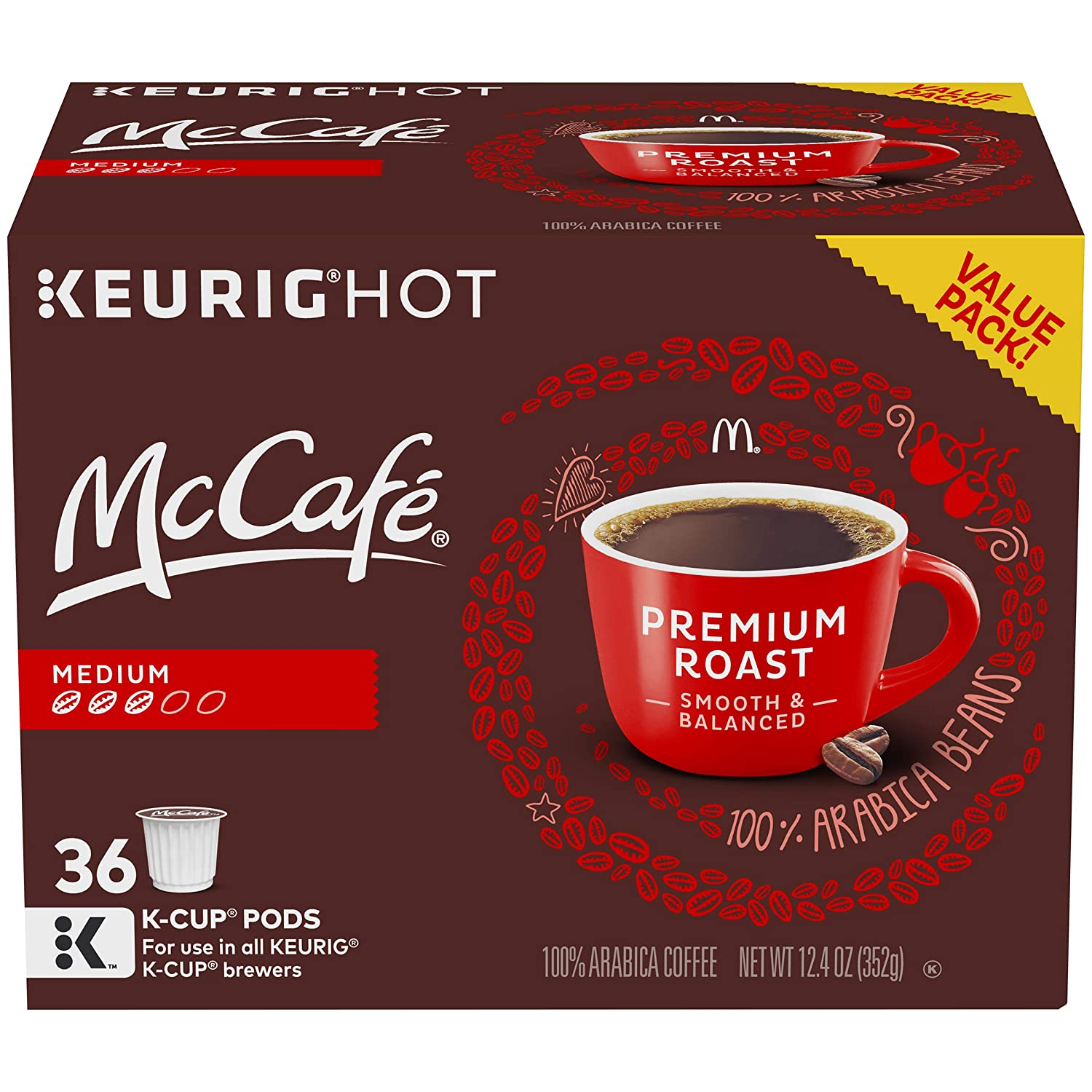 McCafe Premium Roast Coffee K-Cup Pods, 36 Count: Amazon.com ...