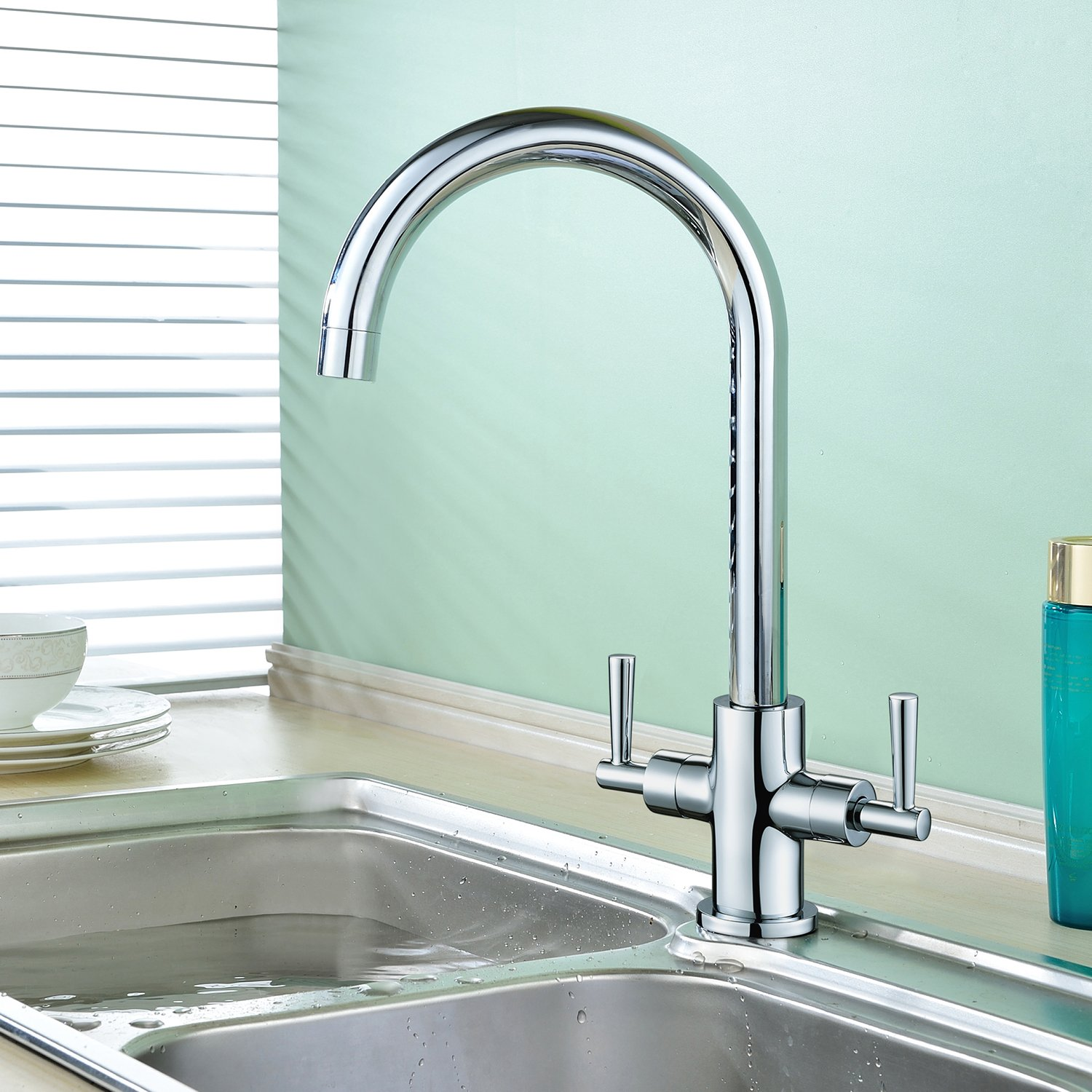 Hapilife Kitchen Tap Dual Lever with Swivel Spout, Sink Mixer Tap ...