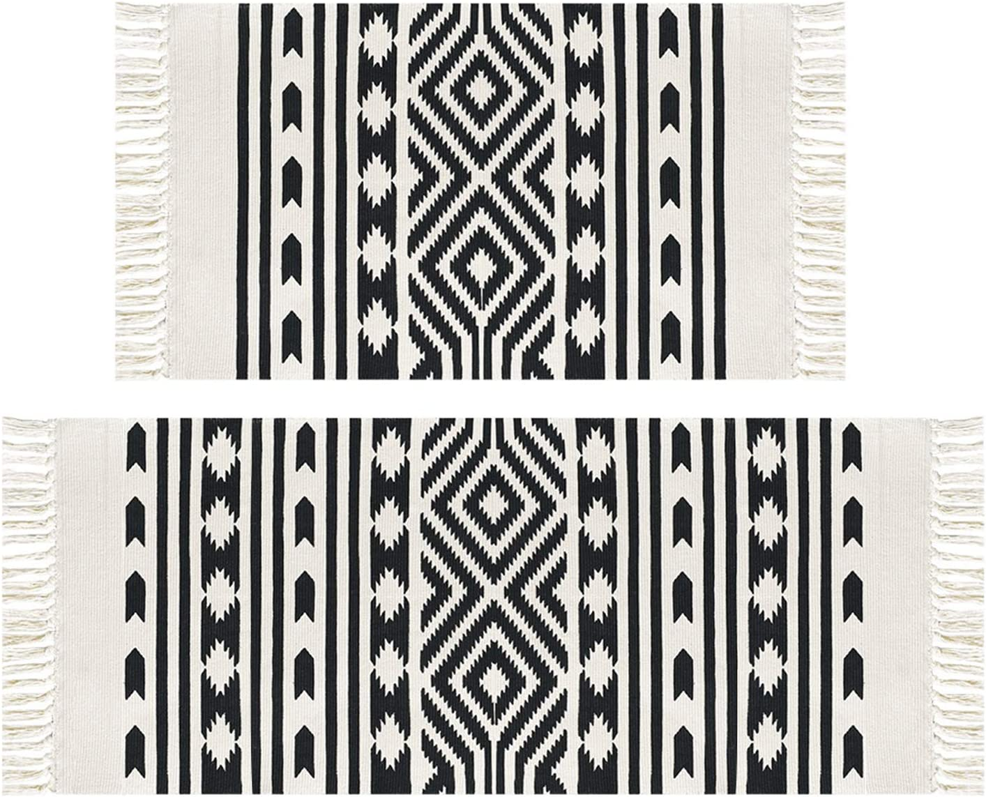 Pauwer Cream And Black Geometric Cotton Area Rug Set 2 Piece 2 X4 2 2 X3 Machine Washable Printed Cotton Rugs With Tassel Hand Woven Cotton Rug Runner For Kitchen Living Room Bedroom Furniture Decor Amazon Com