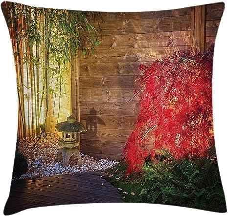 Funda de cojín de jardín para cojín de jardín, farol de piedra japonesa, árbol de arce
