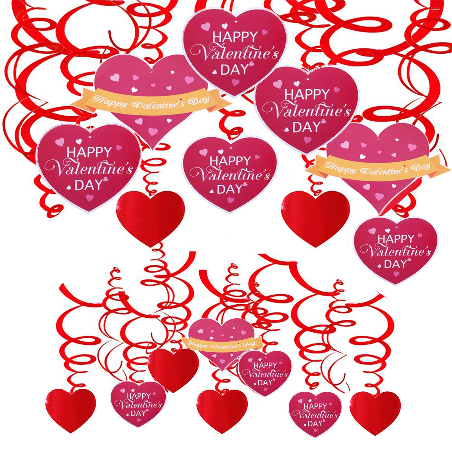 Tuoshei 30 Pieces Valentines Day Decorations Valentines Wall Decor Valentine Hanging Swirl Decorations for Home Party Dangling Ceiling Window Wall Decor Valentine Party Favor Supplies Accessories