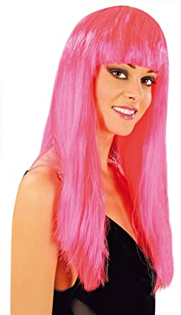 Cabaret Wigs Peluca Rosa Fantasía larga con flequillo para disfraz/Ratona fucsia: Amazon.es: Belleza