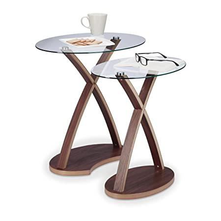 Relaxdays Oval Side Table Set of 2 Glass Table with Wooden Legs Small End  sc 1 st  Amazon UK & Relaxdays Oval Side Table Set of 2 Glass Table with Wooden Legs ...