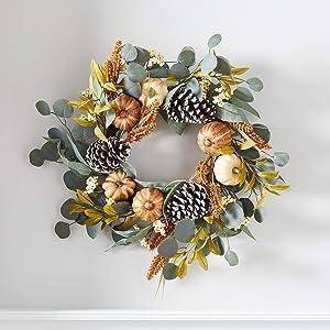 "Lights4fun, Inc. 17.5"" Thanksgiving Eucalyptus, Pumpkin & Pinecone Fall Wreath Decoration"