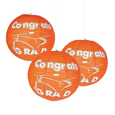 Fun Express - Congrats Grad Orange Paper Lanterns for Graduation - Party Decor - Hanging Decor - Lanterns - Graduation - 6 Pieces: Toys & Games