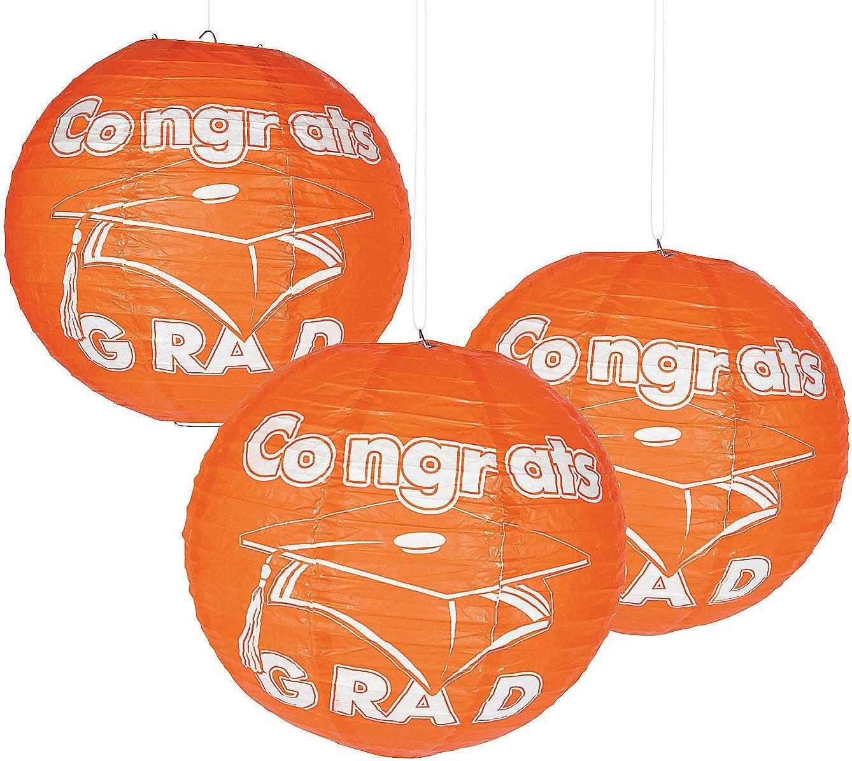 Fun Express - Congrats Grad Orange Paper Lanterns for Graduation - Party Decor - Hanging Decor - Lanterns - Graduation - 6 Pieces