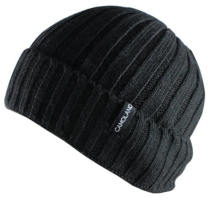 6d538cbf114 CAMOLAND Men s Fleece Wool Cable Knit Winter Beanie Hat(Black ...