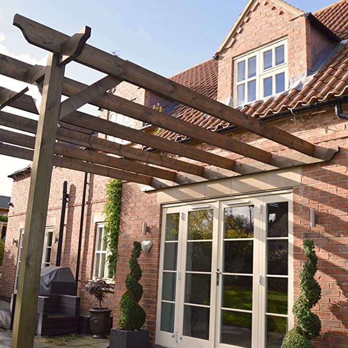 De madera jardín estructura Lean para pérgola – esculpido Rafter – 2 puestos: Amazon.es: Jardín