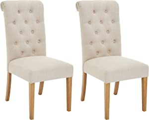 Red Hook Serena Solid-Wood Tufted Upholstered Armless Dining Chair - Set of 2, Natural Sand