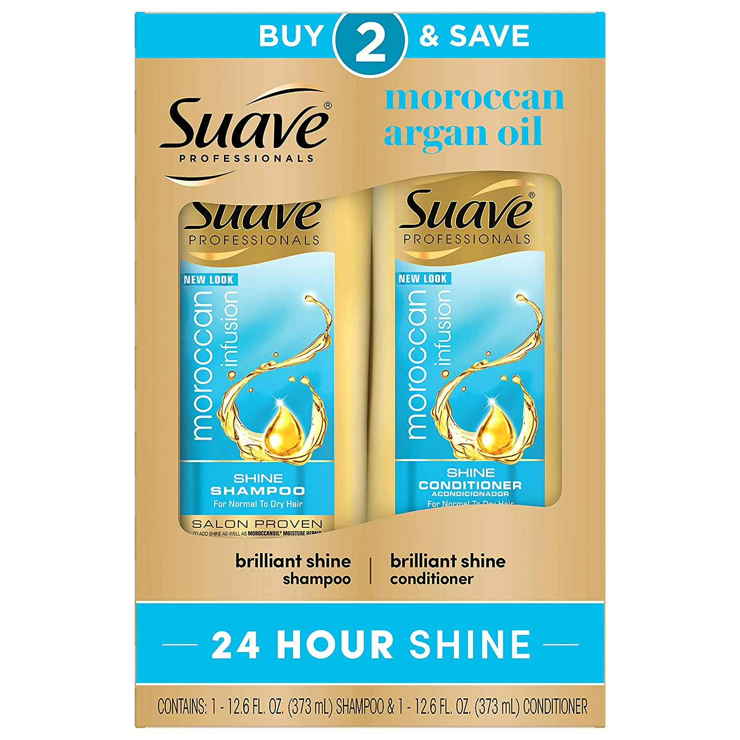 Suave Shine Shampoo and Conditioner Moroccan Infusion with Argan Oil 12.6 oz, pack of 6