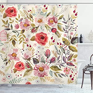 Ambesonne Shabby Flora Shower Curtain, Watercolor Abstract Spring Poppies Flowers Roses Buds Leaves Romantic Print, Cloth Fabric Bathroom Decor Set with Hooks, 70