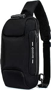 H HIKKER-LINK Mens Chest Sling Bag Anti-Theft Crossbody Pack with USB Black