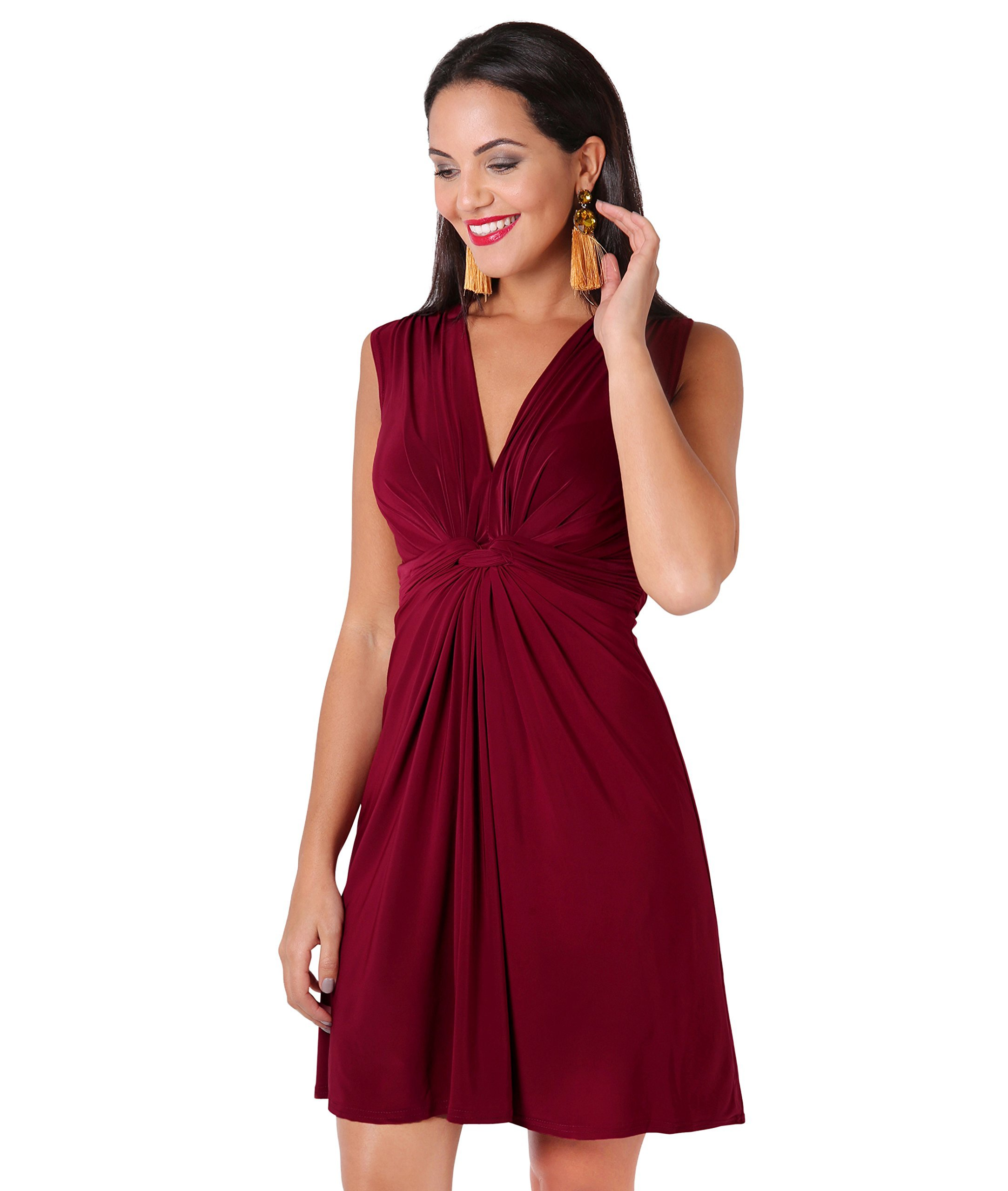 Women Summer Dresses Wrap Mini Knot Front Gathered Drape Party Casual Cocktail (Berry (9354), 18), 9354-BER-18