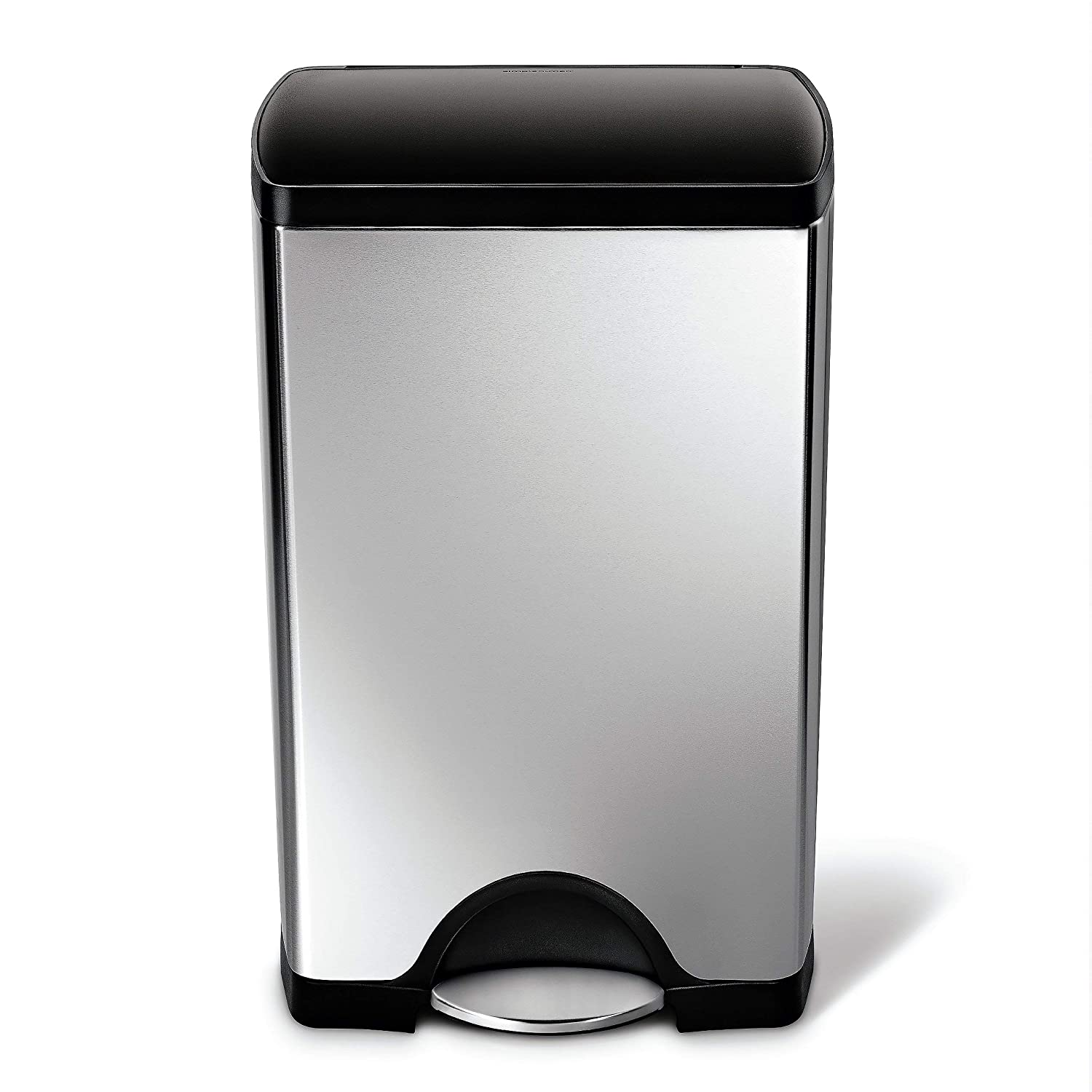 simplehuman Cw1950 Kitchen Trash Can 10 Gallon Brushed Stainless Steel w/Black Plastic lid