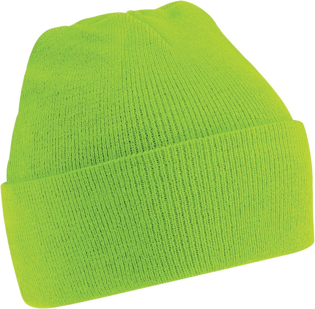 Lime Green Beechfield Soft Feel Knitted Winter Hat One Size